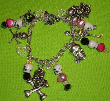 Pink Death Charm Bracelet