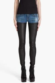R13 Denim Leather Chap Jeans for women