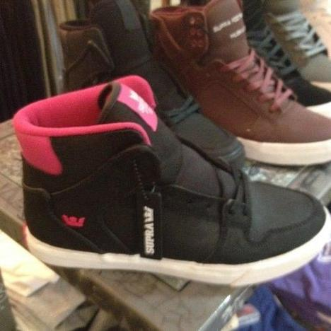 Black/Pink Supra High Top Sneakers
