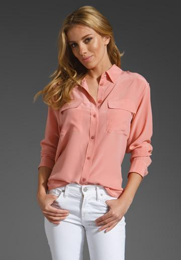 EQUIPMENT Signature Blouse in Candied Apricot at Revolve Clothing...