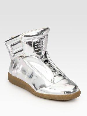 Maison Martin Margiela - Metallic Leather Sneakers - Saks.com