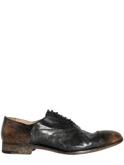ALBERTO FASCIANI - ANTIQUED BRUSHED HORSE LACE-UP SHOES - LUISAV...