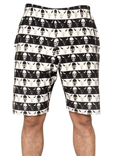 DEAD MEAT - SKULL PRINT FLEECE SHORTS - LUISAVIAROMA - LUXURY SH...