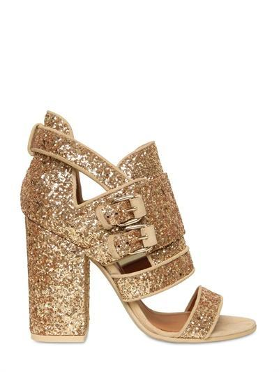 GIVENCHY - 100MM GLITTER BUCKLED SANDALS - LUISAVIAROMA - LUXURY...