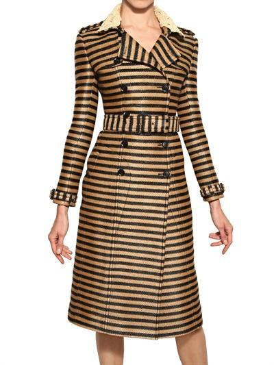 BURBERRY PRORSUM - STRIPED RAFFIA WOVEN TRENCH COAT - LUISAVIAROMA...