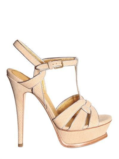 YVES SAINT-LAURENT - 140MM TRIBUTE SUEDE LAME SANDALS - LUISAVIAROMA...