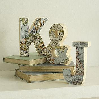 bespoke wooden map letters by bombus | notonthehighstreet.com
