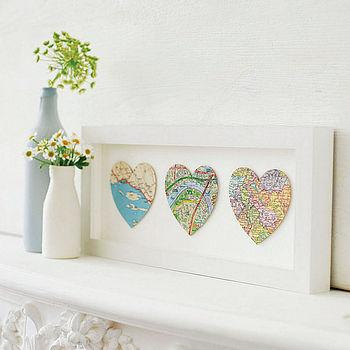bespoke heart map art trio by bombus | notonthehighstreet.com