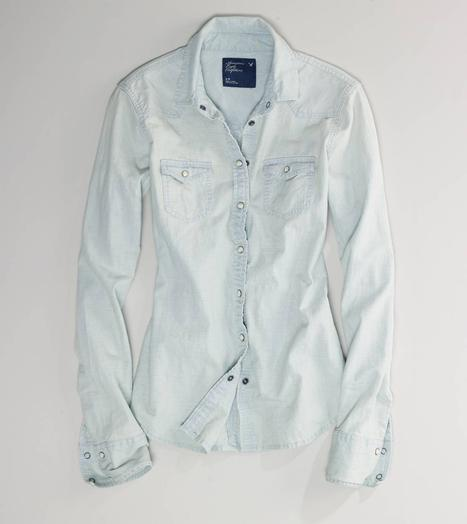 AE Faded Western Chambray Shirt - American Eagle Outfitters
