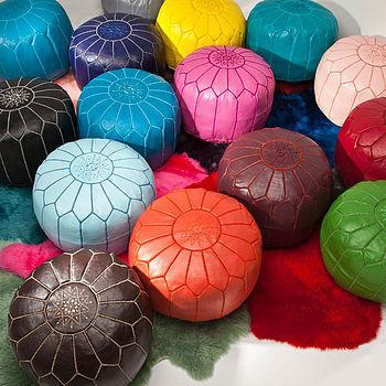 moroccan leather pouffe cover by bohemia | notonthehighstreet.co...