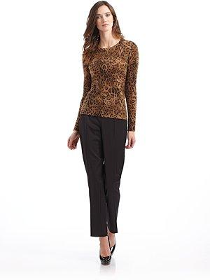 SAKS FIFTH AVENUE BLACK LABEL - Leopard Cashmere Sweater - Saks....