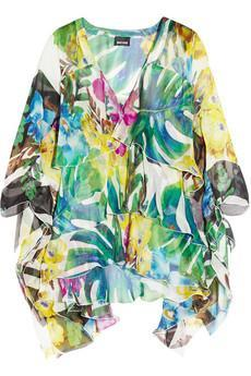 Just Cavalli|Tropical-print silk-chiffon top|NET-A-PORTER.CO...