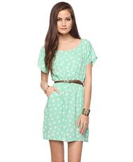 Belted Cherry Print Dress | FOREVER21 - 2000036870