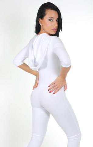 White Catsuit With Hoodie
