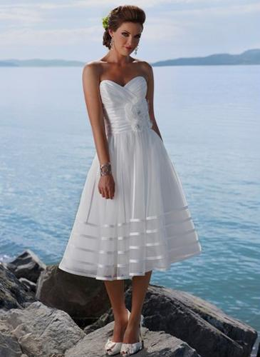 Appealing White A-line Sweetheart Neckline Wedding Dress-SinoSpe...