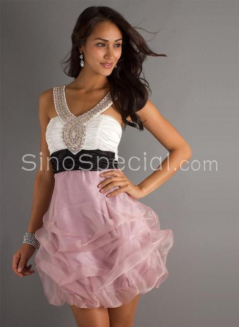 Pretty Beaded Straps Ruched Organza Graduation Dress-SinoSpecial...