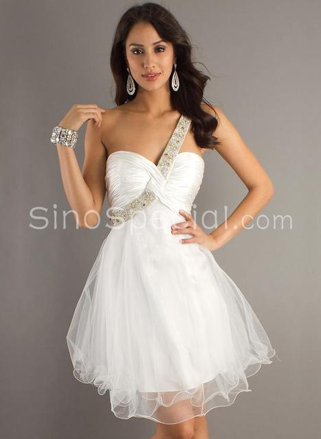 Nifty Organza One-shoulder Mini Graduation Dress -SinoSpecial.co...