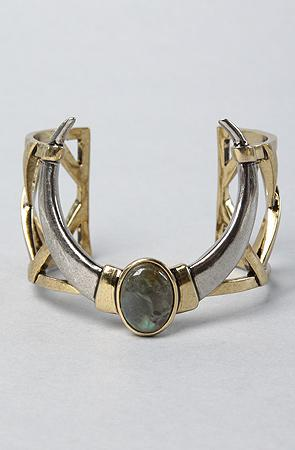 House of Harlow 1960 The Open Weave Horn Cuff with Stone : Karma...
