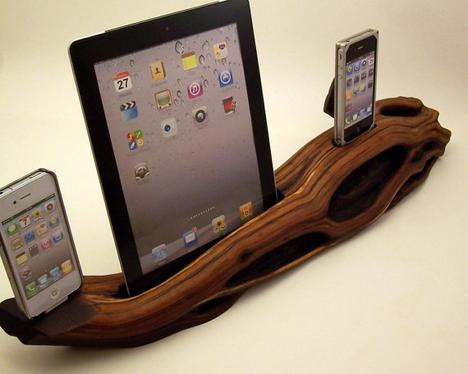 Dual iPhone Dock with iPad Dock ICN202 by rockapplewood on Etsy