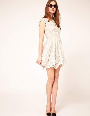 ASOS | ASOS Lace Skater Dress with Applique Detailing at ASOS