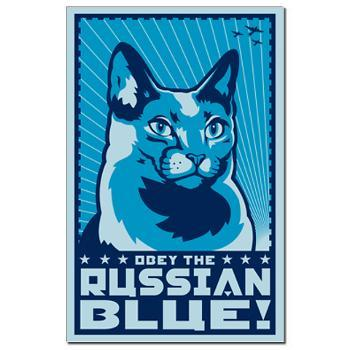 Russian Blue - Cat Propaganda Mini Poster > RUSSIAN BLUE > Obey the...