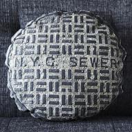 NYC SEWER canvas printed pillow SMALL by intheseam on Etsy