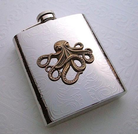 Steampunk Flask Octopus Large Size Holds 8 oz by CosmicFirefly