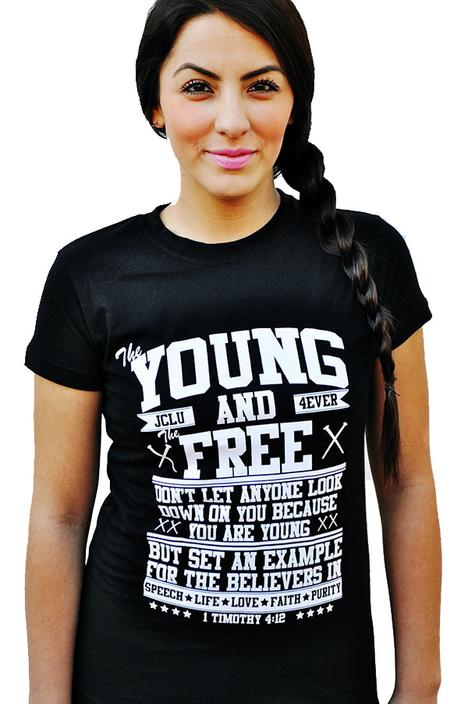013-YOUNG AND FREE-BLACK-Christian T-Shirt