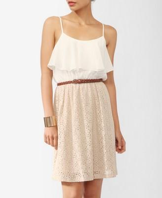 Textured Lace Contrast Dress w/ Belt | FOREVER21 - 2000035894