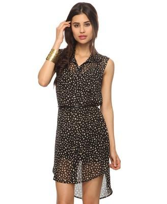Sheer Speckled Shirtdress w/ Belt | FOREVER21 - 2000039957