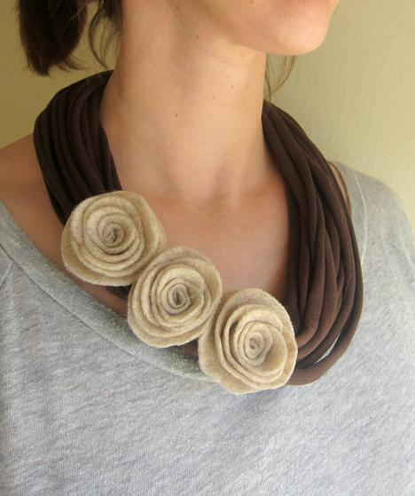 Mocha Felt Rose TShirt Scarf Necklace by swirlsisters on Etsy