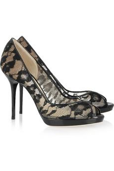 Jimmy Choo | Belgio lace and patent-leather pumps | NET-A-PORTER...