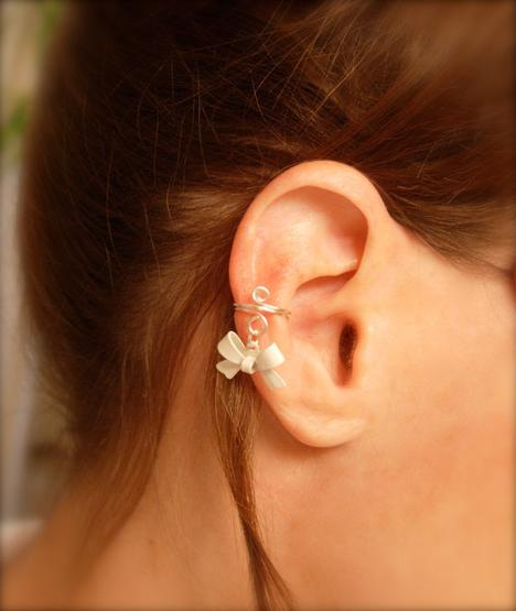 Ear Cuff Dainty and Feminine Silver Cuff with White by jhammerbe...