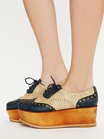 Jeffrey Campbell Ness Stacked Wingtip at Free People Clothing Bo...