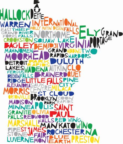 MINNESOTA Digital Ilustration State Print Map with by mollymatti...