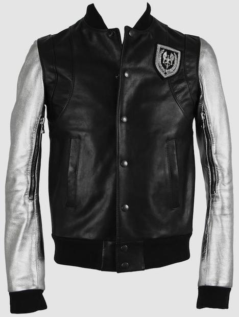 Balmain Silver Sleeve Teddy Leather Jacket
