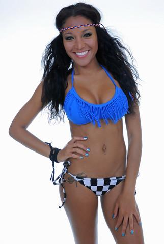 Royal Blue Fringe Bikini Top