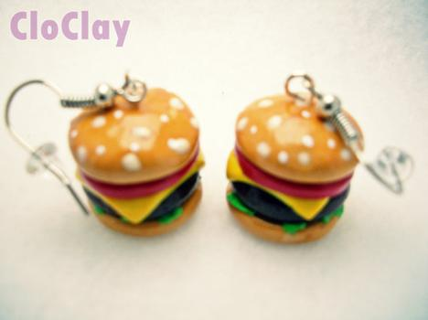 Cheeseburger Earrings by CloClay on Etsy