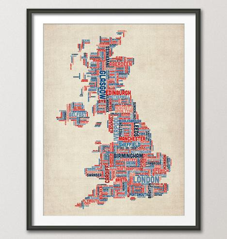 Great Britain UK City Text Map Art Print 18x24 inch by artPause