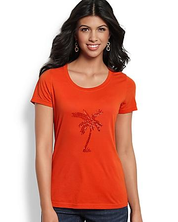 Bugle Bead Palm Tree Tee