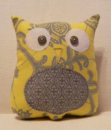 Ollie the Owlet Stuffed Owl Yellow and Gray by sewcutebylindsay