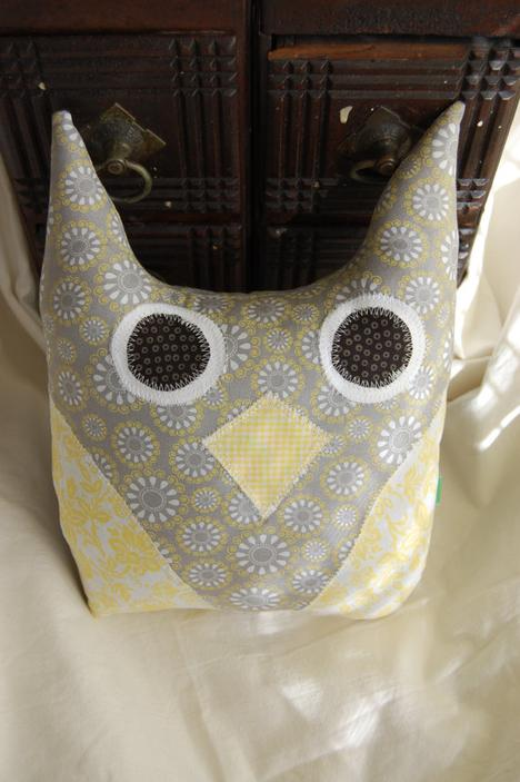 Grey and Yellow Large Owl Pillow by featheredneststudio on Etsy