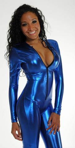 Royal Blue Lamé Catsuit