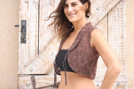 Cotton Lace Vest in brown M size Lace pixie vest by Picarona