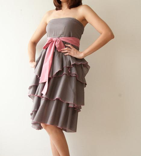 Waft Gray with dark pink Cocktail Dress 2 by aftershowershop