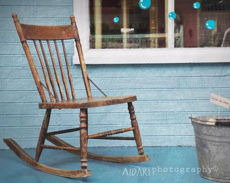 Rocking Chair Fine Art Photography, Blue,Wood, Rustic, Nursery Wall...