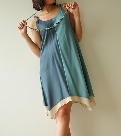 Two tone part II CreamBlue Cotton Dress by aftershowershop on Et...